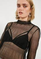 New Look - Mesh high neck blouse - black