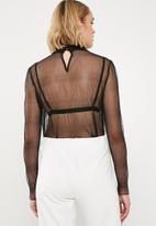 New Look - Mesh high neck blouse - black