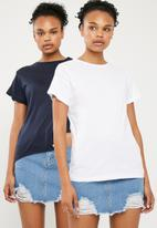 Superbalist - Scoop neck 2 pack tee - navy & white