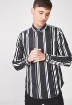 Cotton On - 91 long sleeve shirt - black & white