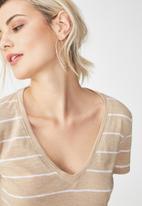 Cotton On - The deep V-neck - beige & white