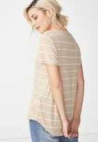 Cotton On - The deep V-neck - beige & white