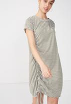 Cotton On - Tina T-shirt dress rouched - khaki & white