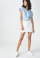 Cotton On - Emily short sleeve shirt - blue & white