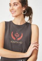 Cotton On - Tbar lola graphic tank - charcoal