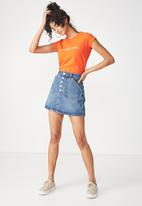 Cotton On - Tbar graphic tee angel amore - orange