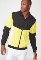 Cotton On - Retro track jacket - black & yellow