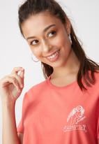 Cotton On - Tbar fox graphic T-shirt - coral