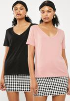 Superbalist - Boyfriend tees 2 pack - black & pink