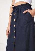 Cotton On - Woven Molly button through midi skirt - navy