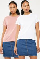 Superbalist - Crew neck 2 pack tees - pink & white