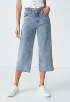 Cotton On - High rise wide leg crop jean - blue