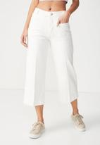 Cotton On - High rise wide leg crop jeans - white