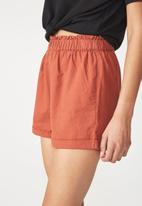 Cotton On - Maisy paperbag shorts- orange
