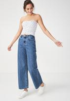 Cotton On - Rocky rouched front tube top - white & navy
