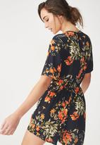 Cotton On - Woven angie cap sleeve playsuit  - navy
