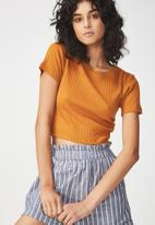 Cotton On - Beth close to the body rib top - tan