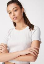 Cotton On - Beth close to the body rib top - grey