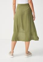 Cotton On - Woven dana drapey midi skirt - khaki