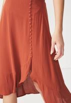 Cotton On - Woven dana drapey midi skirt - orange