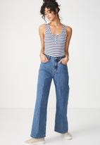 Cotton On - Abbie summer henley scoop sleeveless bodysuit - blue & white