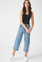 Cotton On - Jessica sleeveless henley tank - black