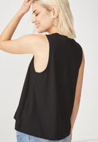 Cotton On - Whit high crew sleeveless tank - black