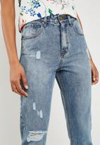 Superbalist - Rip & repair mom jeans - blue