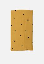 Little Love - Stars on mustard stretch cotton blanket