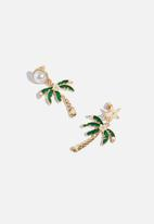 Superbalist - Palm tree earrings - gold & green