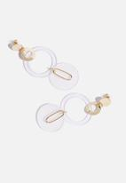 Superbalist - Isabel resin hoop earrings - gold & clear