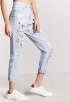Forever21 - Boyfriend Jeans With Rips Blue