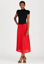 edit - Lined Flared Skirt with Self-tie Belt Red