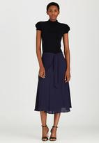 edit - Lined Flared Skirt with Self-tie Belt Navy