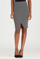 edit - Knit Wrap Skirt Black and White