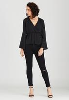 c(inch) - Lace-up back Blouse Black