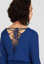 c(inch) - Lace-up back Blouse Navy