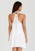London Hub - Midi Dress with Crochet Detail White