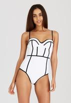 London Hub - Balconette Swimsuit with Contrast Trim Black and White