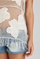 London Hub - Crochet Top with Tassel Detail Neutral