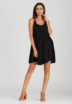 London Hub - Midi Dress with Crochet Detail Black
