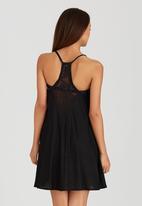 London Hub - Midi Dress with Crochet Detail Black