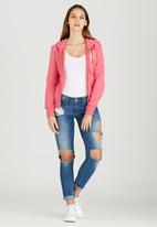 Russell Athletic - Varsity Zip Through Hoody with Rosette Print Mid Pink