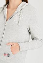 Russell Athletic - Varsity Zip Through Hoody with Rosette Print Grey Melange