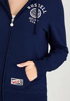 Russell Athletic - Varsity Zip Through Hoody with Rosette Print Navy