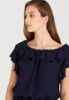 edit - Lined Double Frill Blouse Navy