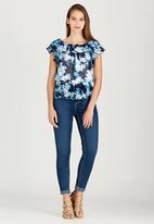 edit - Lined Double Frill Blouse Blue