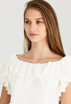 edit - Lined Double Frill Blouse Milk