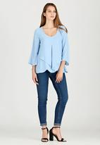 edit - Cross-over Layer Blouse Pale Blue