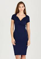 edit - Fitted Dress with Shaped Neckline Navy